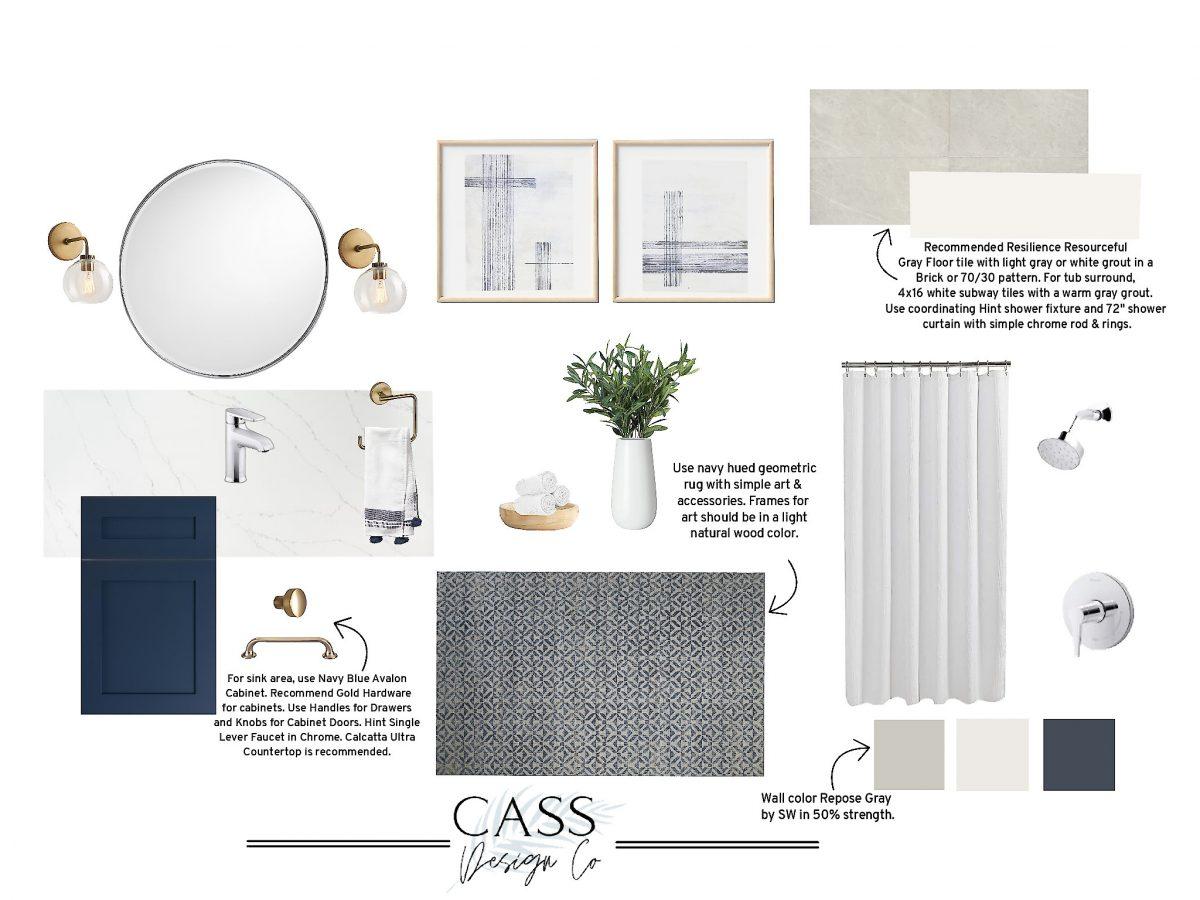 Bathroom Design with Navy Cabinet